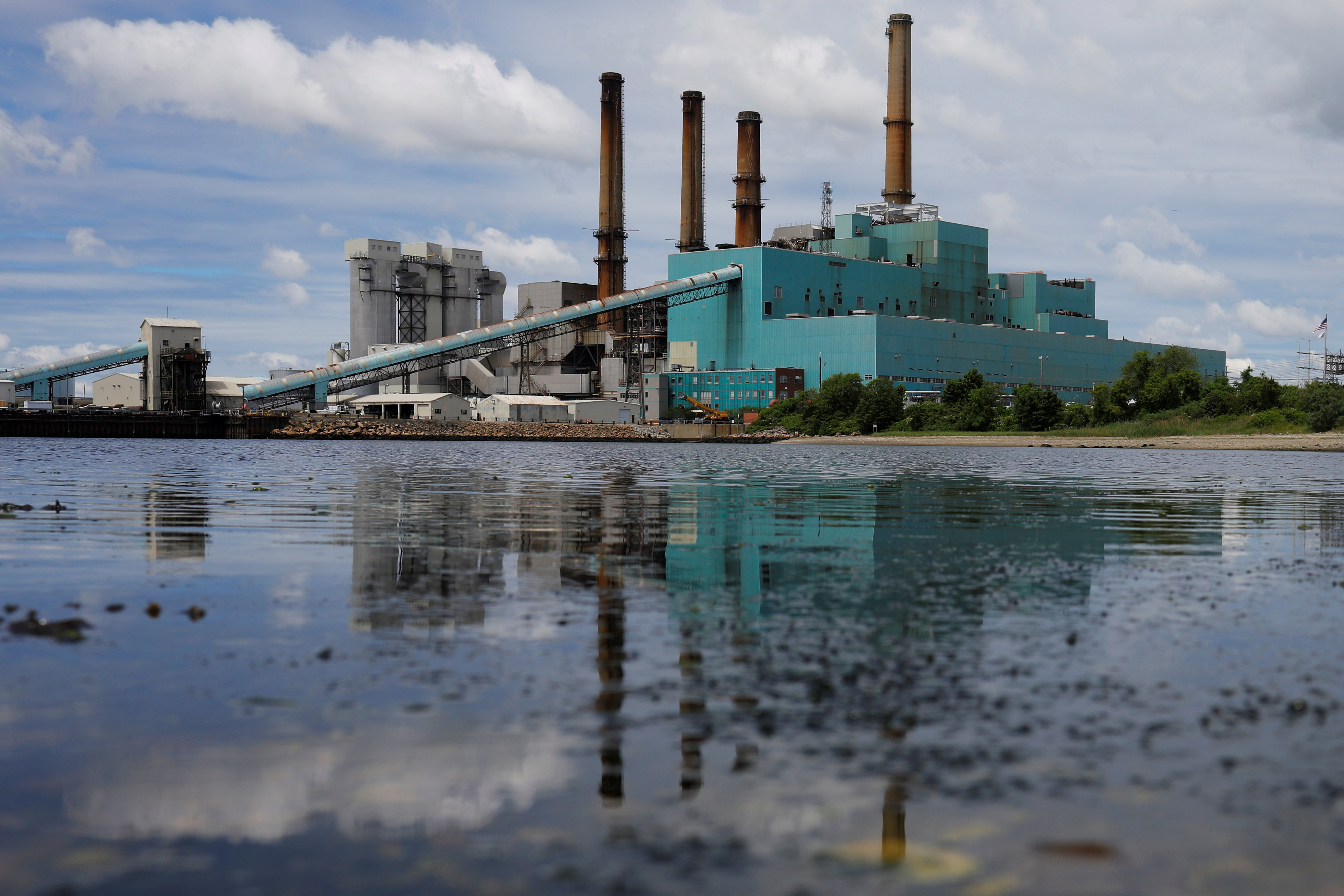 The Brayton Point power plant, a coal fired power plant which was shut down on June 1, sits near the Taunton River in Somerset