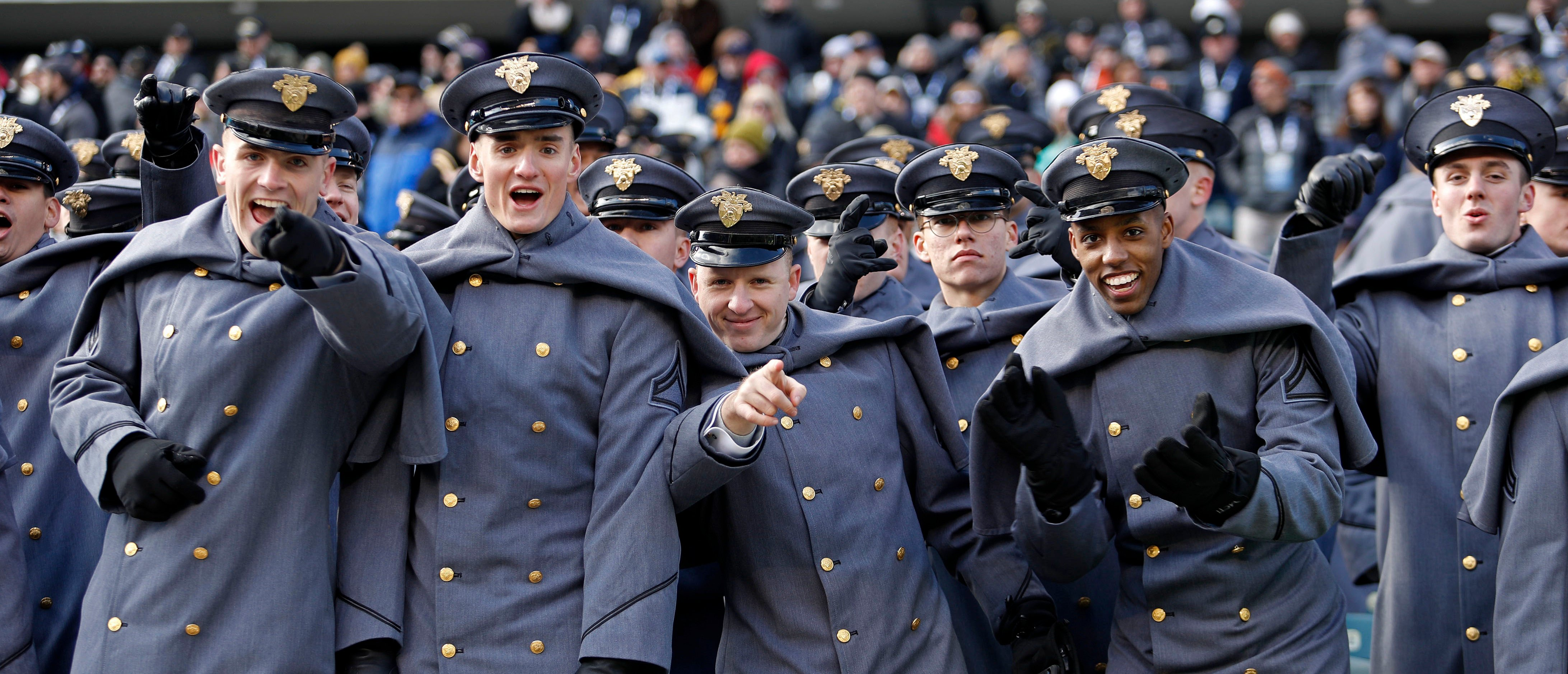 Dec 8, 2018; Philadelphia, PA, USA; The Corps of Cadets from the United States Military Academy at West Point reacts before the 119th Army-Navy game at Lincoln Financial Field. Mandatory Credit: Danny Wild-USA TODAY Sports