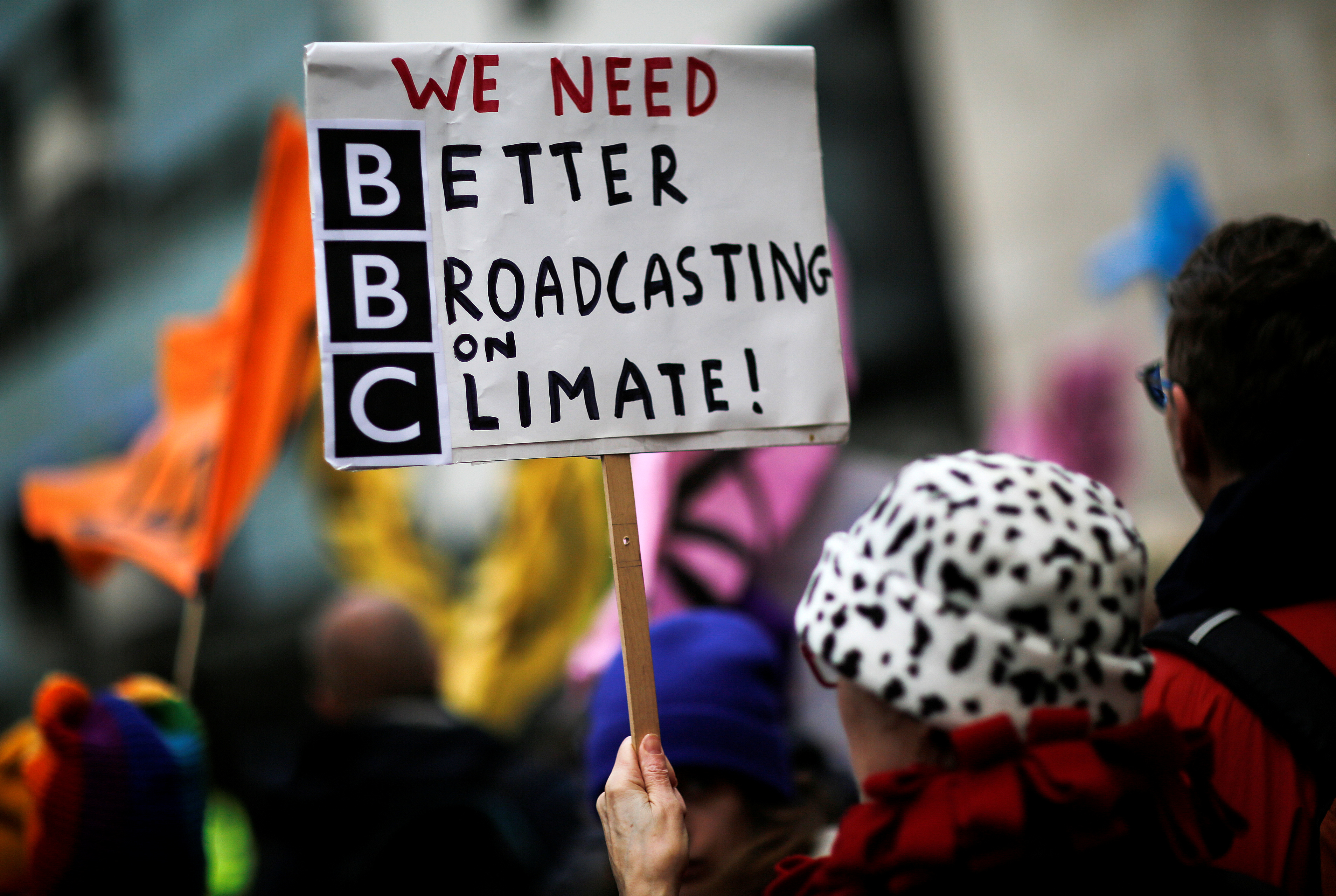 Protesters from the climate change pressure group Extinction Rebellion demonstrate outside the BBC offices in central London