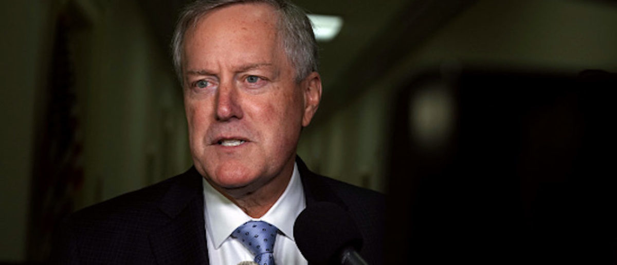 WASHINGTON, DC - DECEMBER 07: U.S. Rep. Mark Meadows (R-NC) speaks to members of the media as he arrives at the Rayburn House Office Building where former Federal Bureau of Investigation Director James Comey testifies to the House Judiciary and Oversight and Government Reform committees on Capitol Hill December 07, 2018 in Washington, DC. With less than a month of control of the committees, House Republicans subpoenaed Comey to testify behind closed doors about investigations into Hillary Clinton?s email server and whether President Trump?s campaign advisers colluded with the Russian government to steer the outcome of the 2016 presidential election. (Photo by Alex Wong/Getty Images)