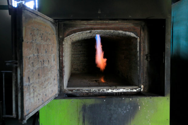 A detailed view of a crematory oven at Eden Gardens cemetery in Maracaibo, Venezuela November 29, 2018. REUTERS/Isaac Urrutia