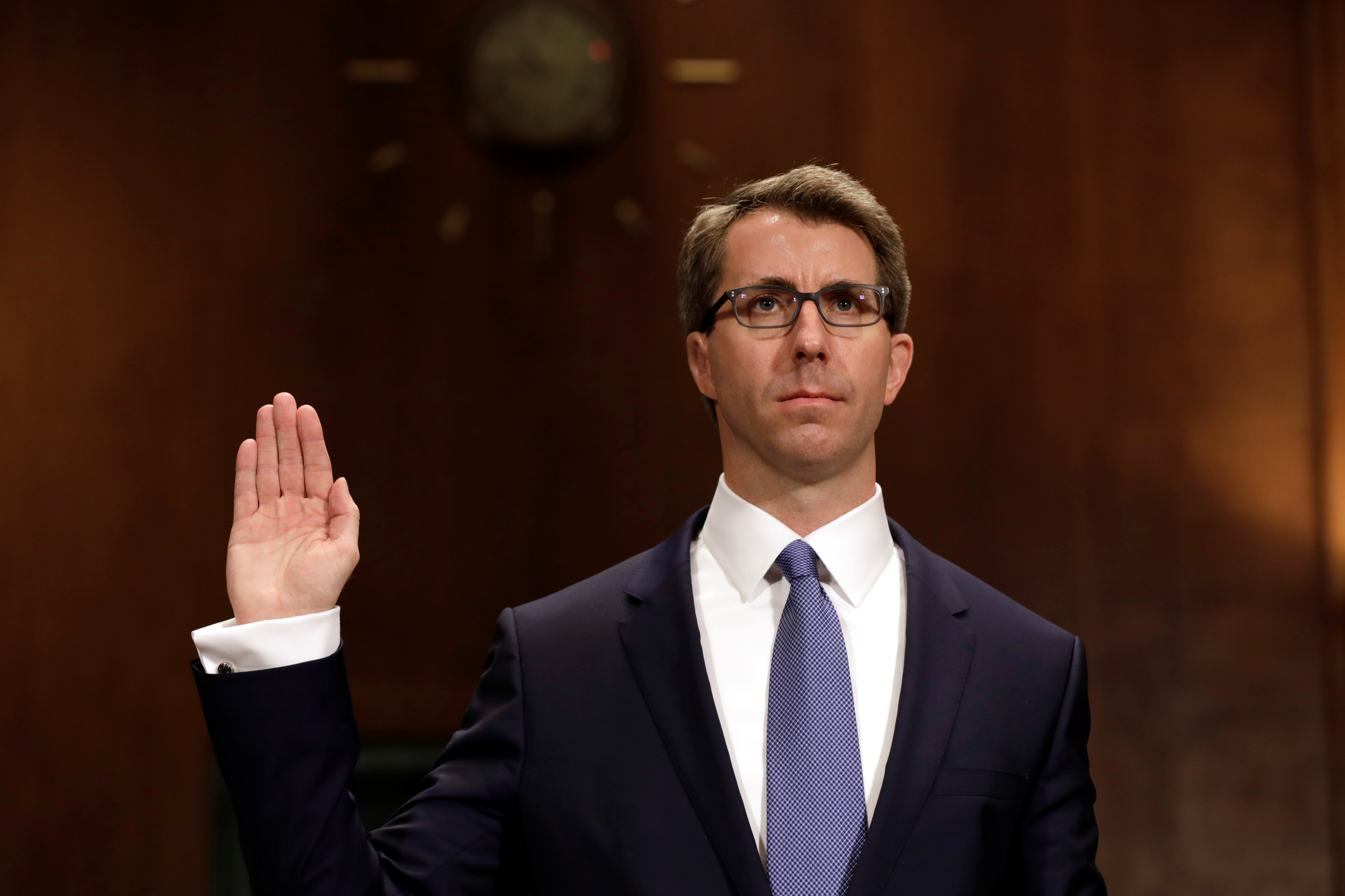 Ryan Bounds is sworn in before a Senate Judiciary Committee hearing on his nomination to be a U.S. Circuit Court judge for the Ninth Circuit, on Capitol Hill in Washington. REUTERS/Yuri Gripas