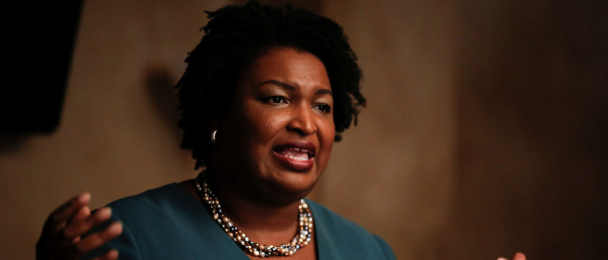 Stacey Abrams speaks at a Young Democrats of Cobb County meeting as she campaigns in Cobb County, Georgia, U.S. on November 16, 2017. REUTERS/Chris Aluka Berry