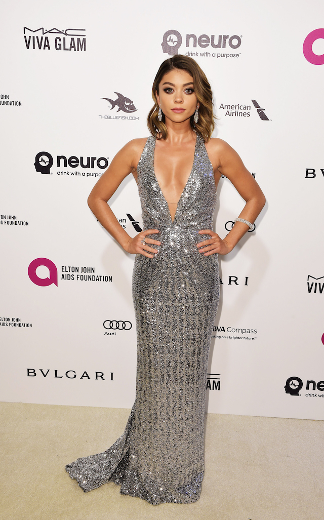 Actress Sarah Hyland arrives at the Elton John AIDS Foundation Academy Awards Viewing Party in West Hollywood, California February 28, 2016. REUTERS/Gus Ruelas