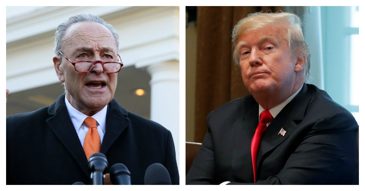 LEFT: U.S. Senate Minority Leader Chuck Schumer and House Speaker designate Nancy Pelosi speak to reporters after meeting with U.S. President Donald Trump at the White House in Washington, December 11, 2018. REUTERS/Jonathan Ernst RIGHT: President Donald Trump meets with newly elected governors in the Cabinet Room of the White House in Washington, December 13, 2018. REUTERS/Jim Young