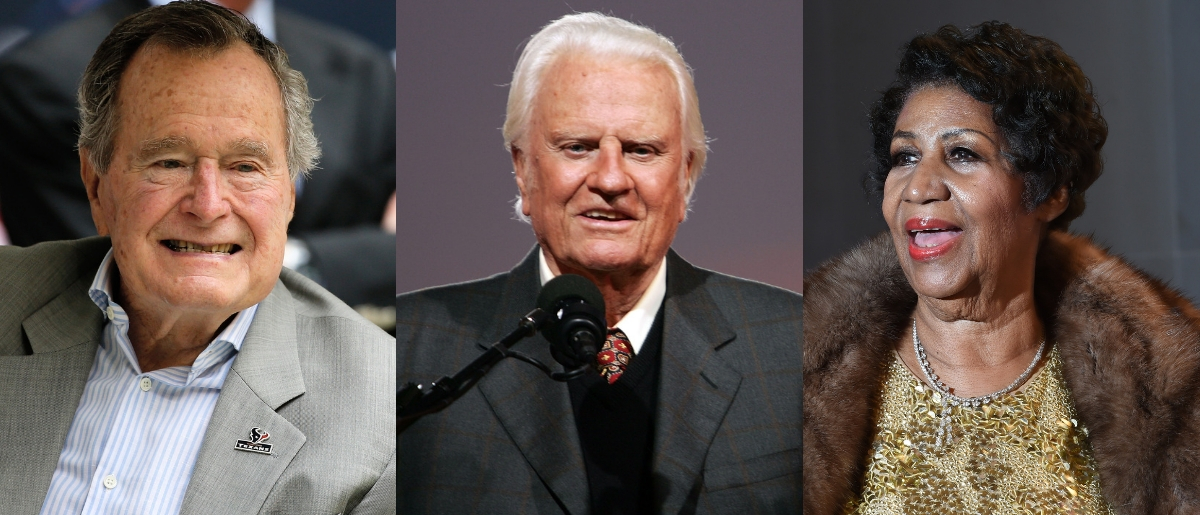 Here are some of the great Americans we lost in 2018: former president George H.W. Bush, preacher Billy Graham and 'Queen of Soul' Aretha Franklin. Scott Halleran/Getty Images, Spencer Platt/Getty Images and MOLLY RILEY/AFP/Getty Images