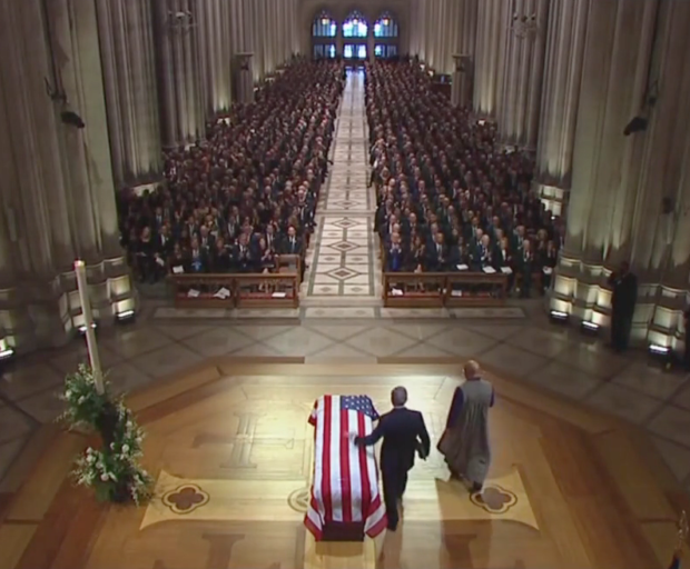 George W. Bush touches his father's casket (CNN Screenshot: December 5, 2018)