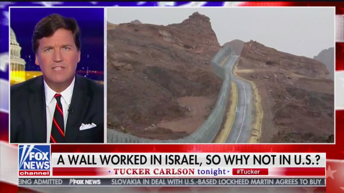 Tucker Points Out Dems Don't Support US-Mexico Border Wall But Support Israel's Border Security/ Fox News screenshot