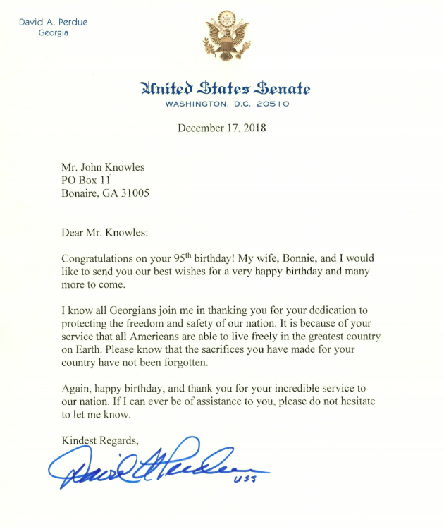 Letter from Sen. David Perdue to John Knowles