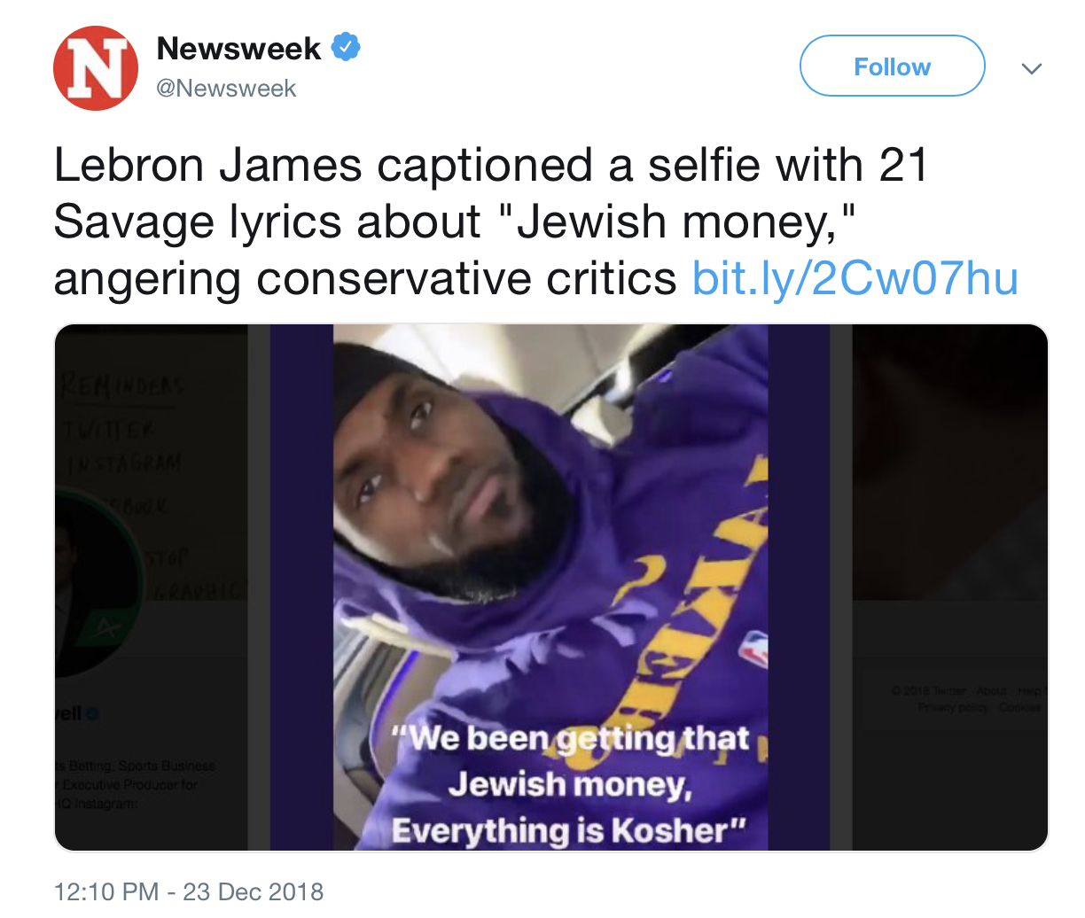 Screenshot of a @Newsweek tweet