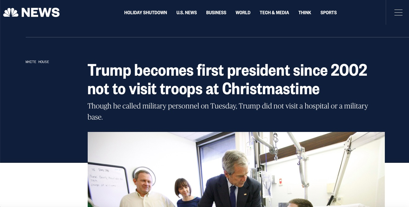 NBC News Claims Trump Won't Visit Troops (Screenshot: December 26, 2018)
