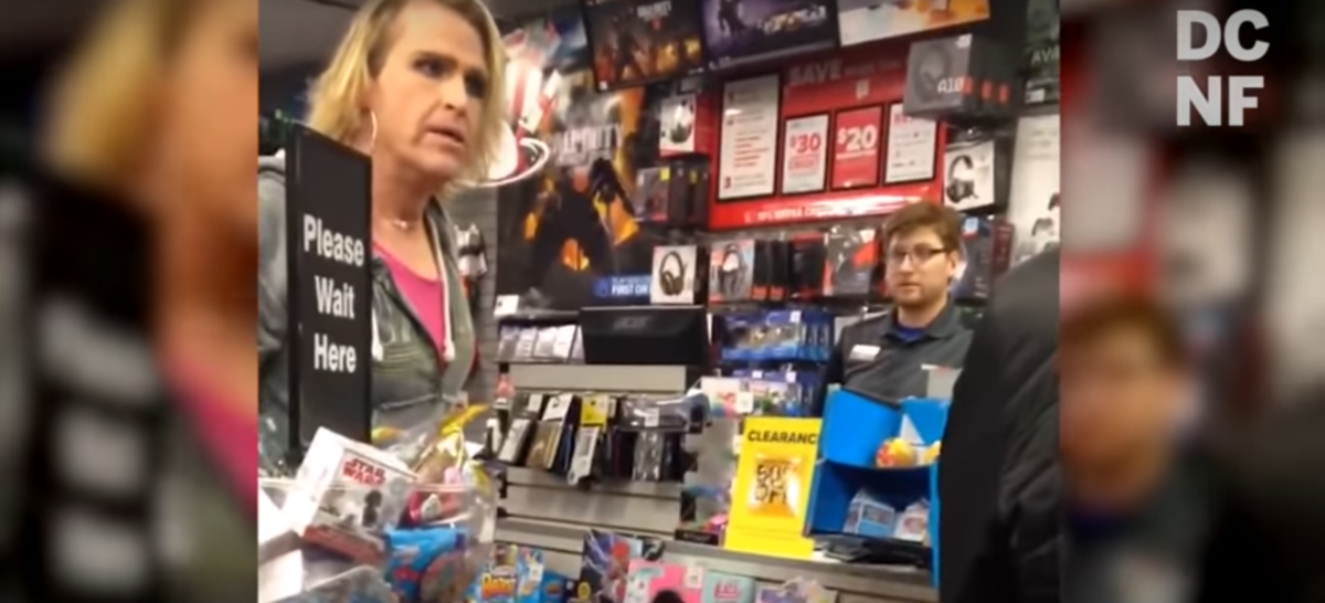 "A trans woman threw a tantrum at a GameStop in Albuquerque, New Mexico after claiming the worker called him, ""sir"" instead of ""ma'am."" (Youtube screenshot)"