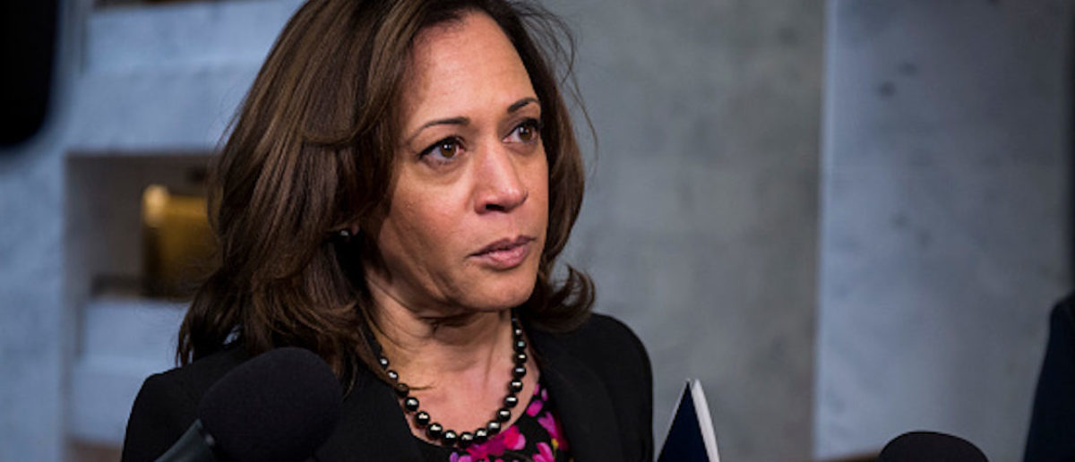 WASHINGTON, DC - DECEMBER 04: Sen. Kamala Harris (D-CA) speaks to reporters following a closed briefing on intelligence matters on Capitol Hill on December 4, 2018 in Washington, DC. (Photo by Zach Gibson/Getty Images)