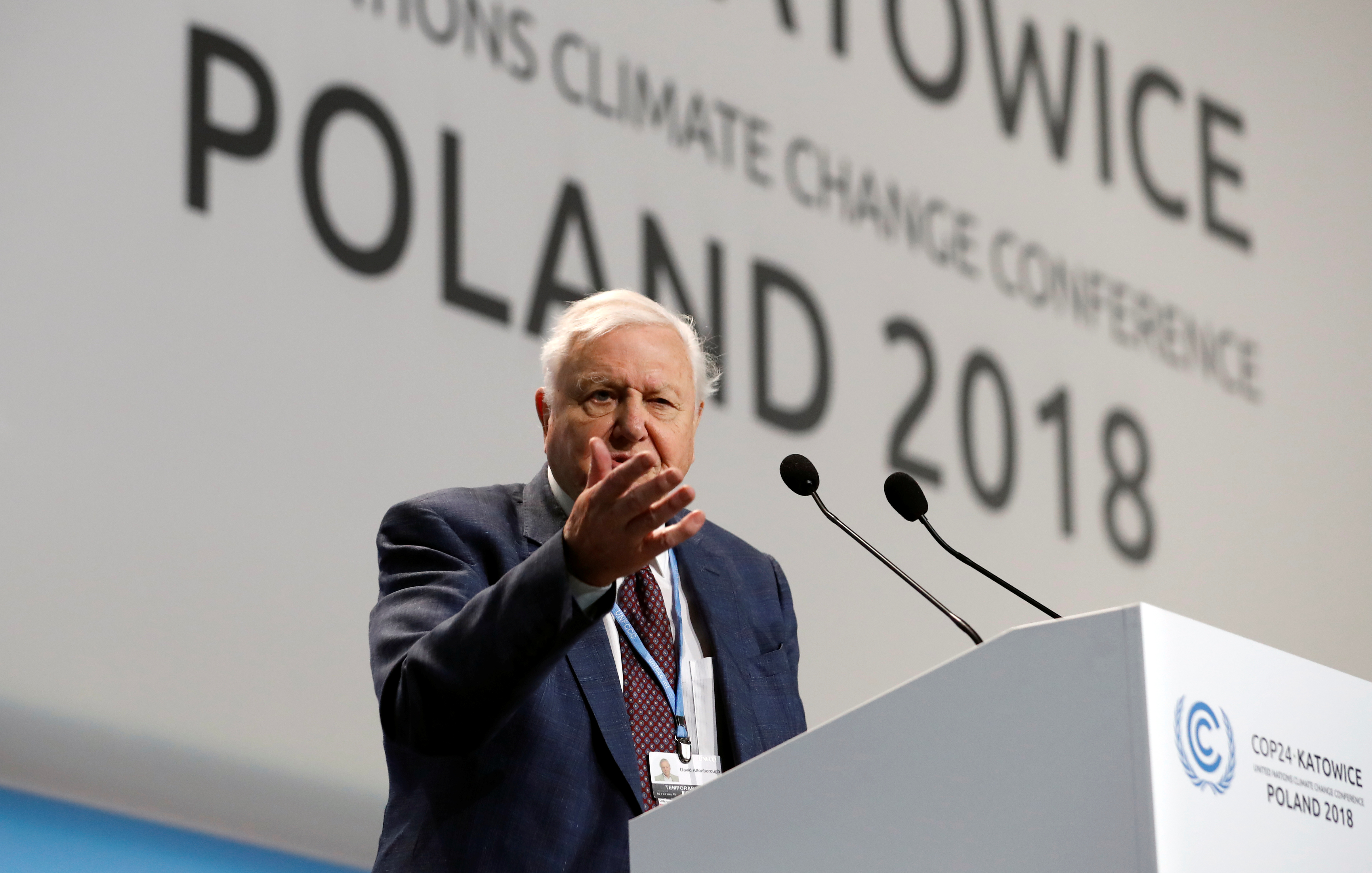 "World renowned naturalist Sir David Attenborough delivers the ""People's Seat"" address during the opening of COP24 UN Climate Change Conference 2018 in Katowice, Poland December 3, 2018. REUTERS/Kacper Pempel"