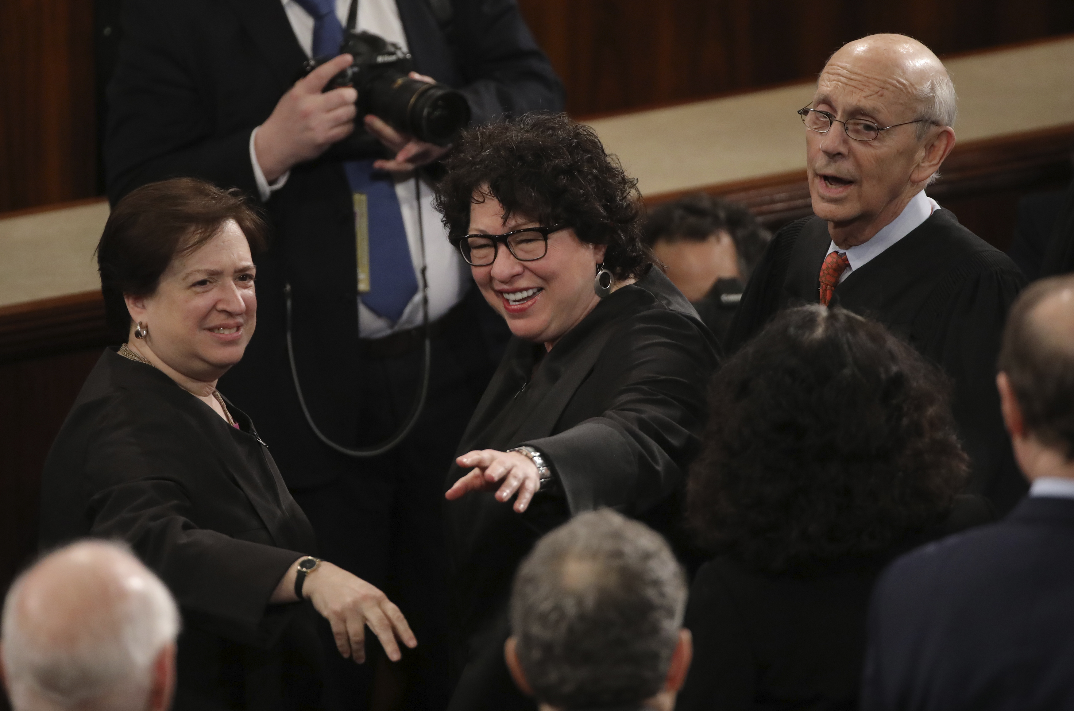 (L-R) Supreme Court Justices Elena Kagan, Sonia Sotomayor and Stephen Breyer. REUTERS/Carlos Barria