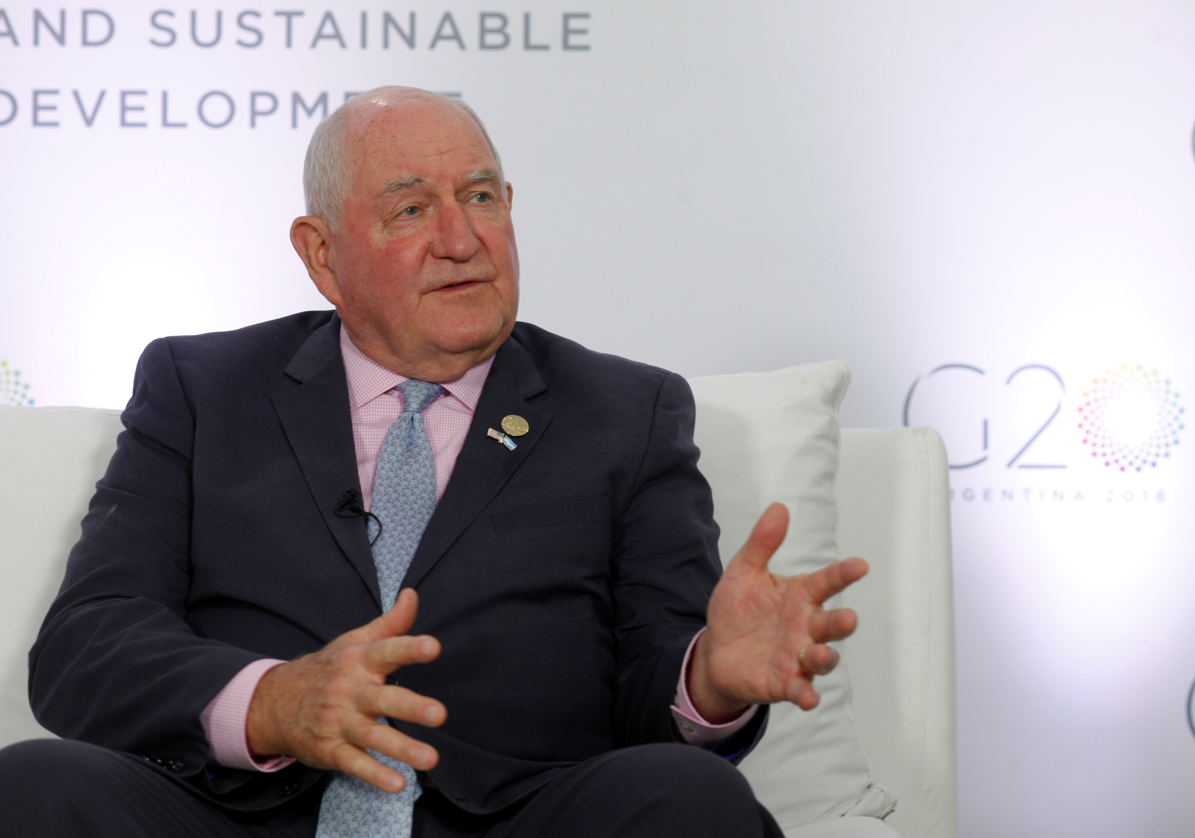 U.S. Agriculture Secretary Sonny Perdue speaks at an interview with Reuters during the G20 Meeting of Agriculture Ministers in Buenos Aires, Argentina, July 28, 2018. REUTERS/Martin Acosta
