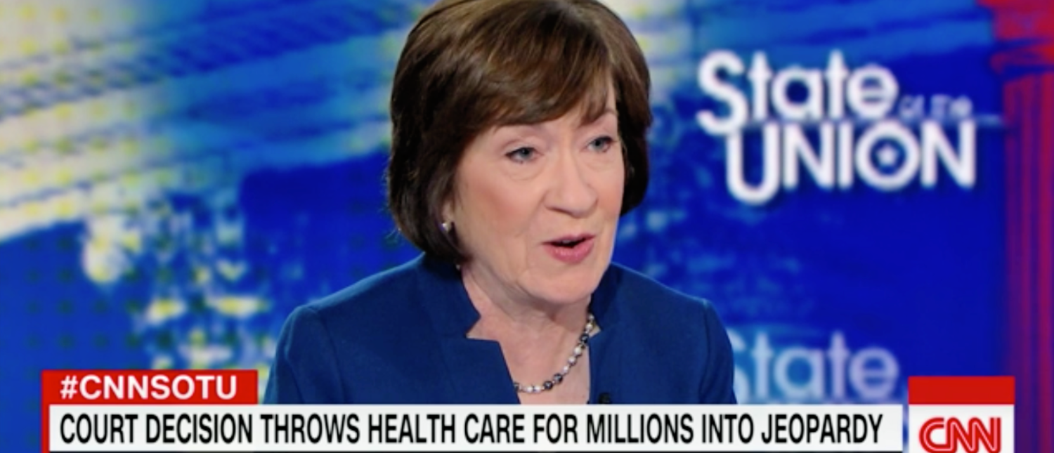 GOP Sen. Susan Collins of Maine speaks on CNN's 'State of the Union' on Dec. 16, 2018. (Screenshot)