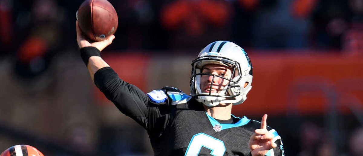 CLEVELAND, OH - DECEMBER 09: Taylor Heinicke #6 of the Carolina Panthers passes the ball during the second quarter against the Cleveland Browns at FirstEnergy Stadium on December 9, 2018 in Cleveland, Ohio. (Photo by Jason Miller/Getty Images)
