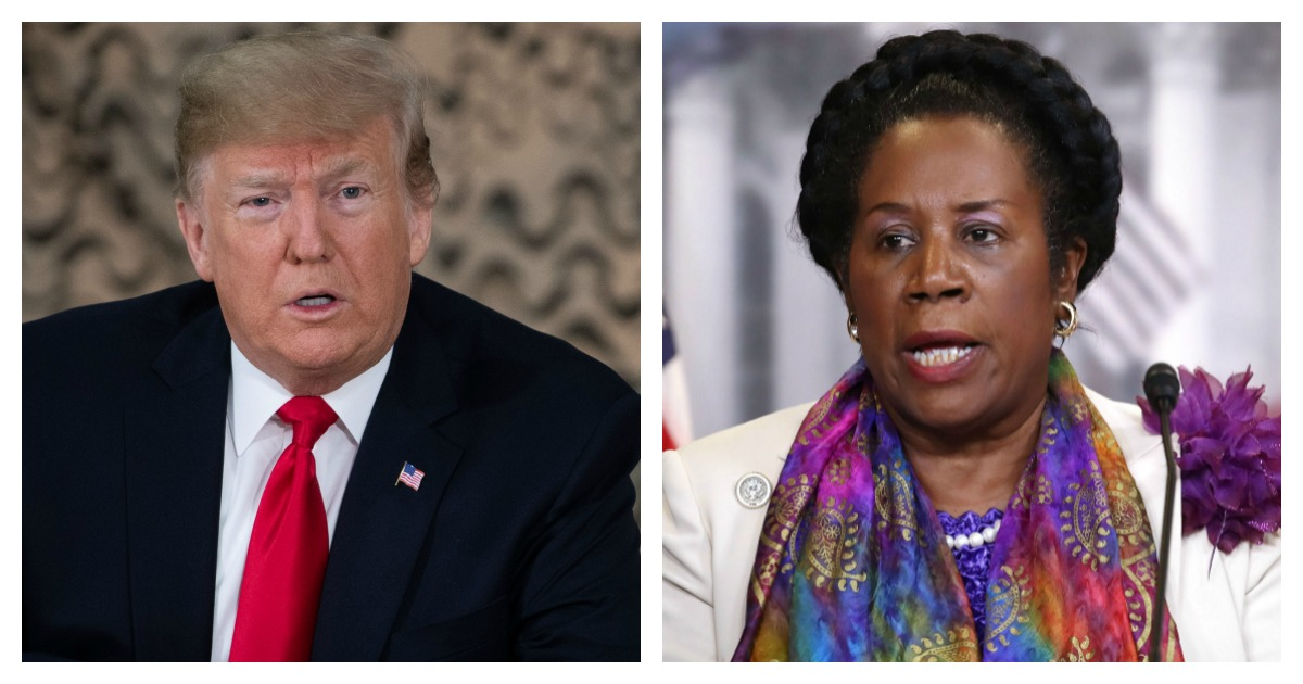 LEFT: US President Donald Trump speaks at a military briefing during an unannounced trip to Al Asad Air Base in Iraq (Saul Loeb/AFP/Getty Images) RIGHT: Rep. Sheila Jackson Lee speaks during a news conference on Capitol Hill (Mark Wilson/Getty Images)