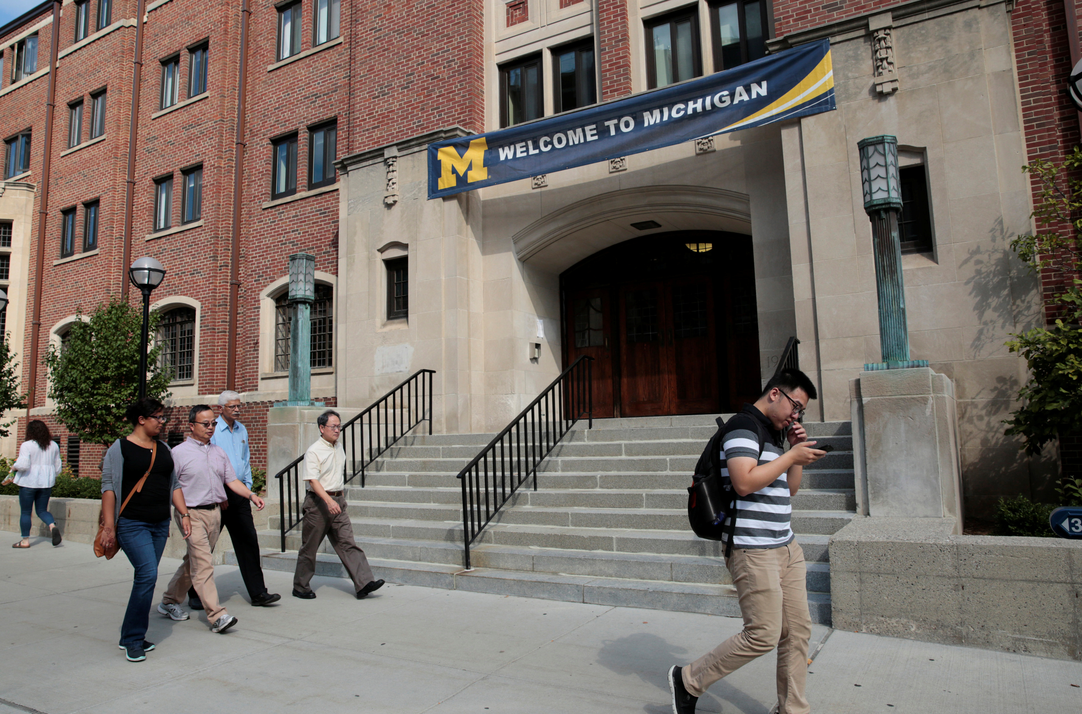 """A """"Welcome"""" banner is seen on a University of Michigan building in Ann Arbor, Michigan, U.S., September 19, 2018. Picture taken on September 19, 2018. REUTERS/Rebecca Cook"""