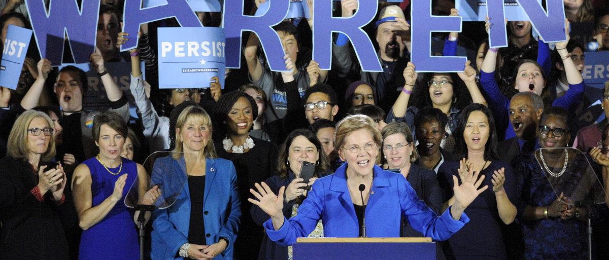 Senator Elizabeth Warren addresses the audience during the Election Day Massachusetts Democratic Coordinated Campaign Election Night Celebration (Joseph Prezioso/AFP/Getty Images)