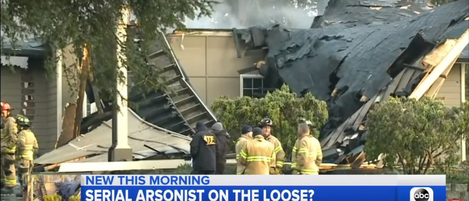 Jehovah's Witnesses hall destroyed by arson in Lacey, Washington (YouTube screenshot/ ABC News)