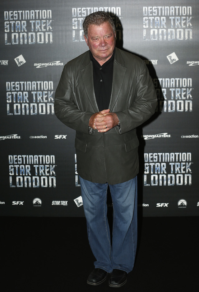 Actor William Shatner who plays Captain James T. Kirk in the original version of Star Trek arrives at the Destination Star Trek London event in London October 19, 2012. REUTERS/Suzanne Plunkett