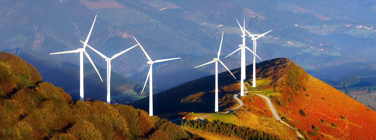 wind turbines on the mountain. Shutterstock