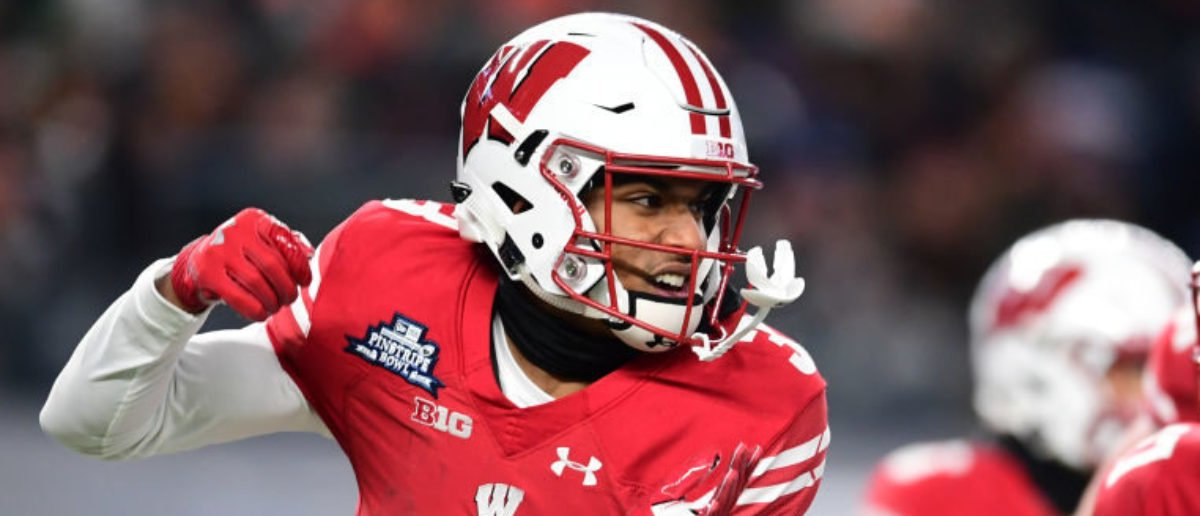 NEW YORK, NEW YORK - DECEMBER 27: Kendric Pryor #3 of the Wisconsin Badgers reacts with his teammates after scoring on the first drive in the first quarter of the New Era Pinstripe Bowl against the Miami Hurricanes at Yankee Stadium on December 27, 2018 in the Bronx borough of New York City. (Photo by Sarah Stier/Getty Images)