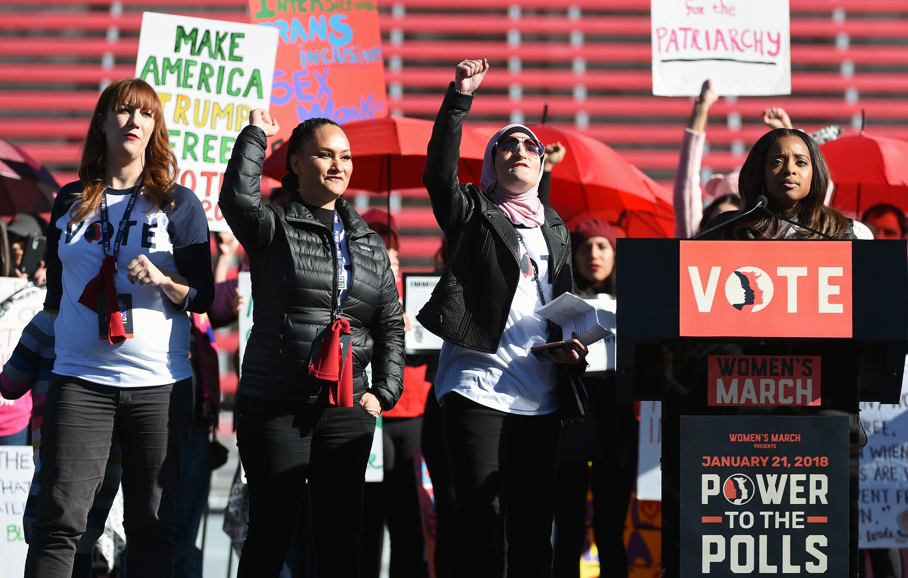 "LAS VEGAS, NV - JANUARY 21: (L-R) Women's March Co-Chairwomen Bob Bland, Carmen Perez, Linda Sarsour and Tamika D. Mallory speak during the Women's March ""Power to the Polls"" voter registration tour launch at Sam Boyd Stadium on January 21, 2018 in Las Vegas, Nevada. Demonstrators across the nation gathered over the weekend, one year after the historic Women's March on Washington, D.C., to protest President Donald Trump's administration and to raise awareness for women's issues. (Photo by Ethan Miller/Getty Images)"