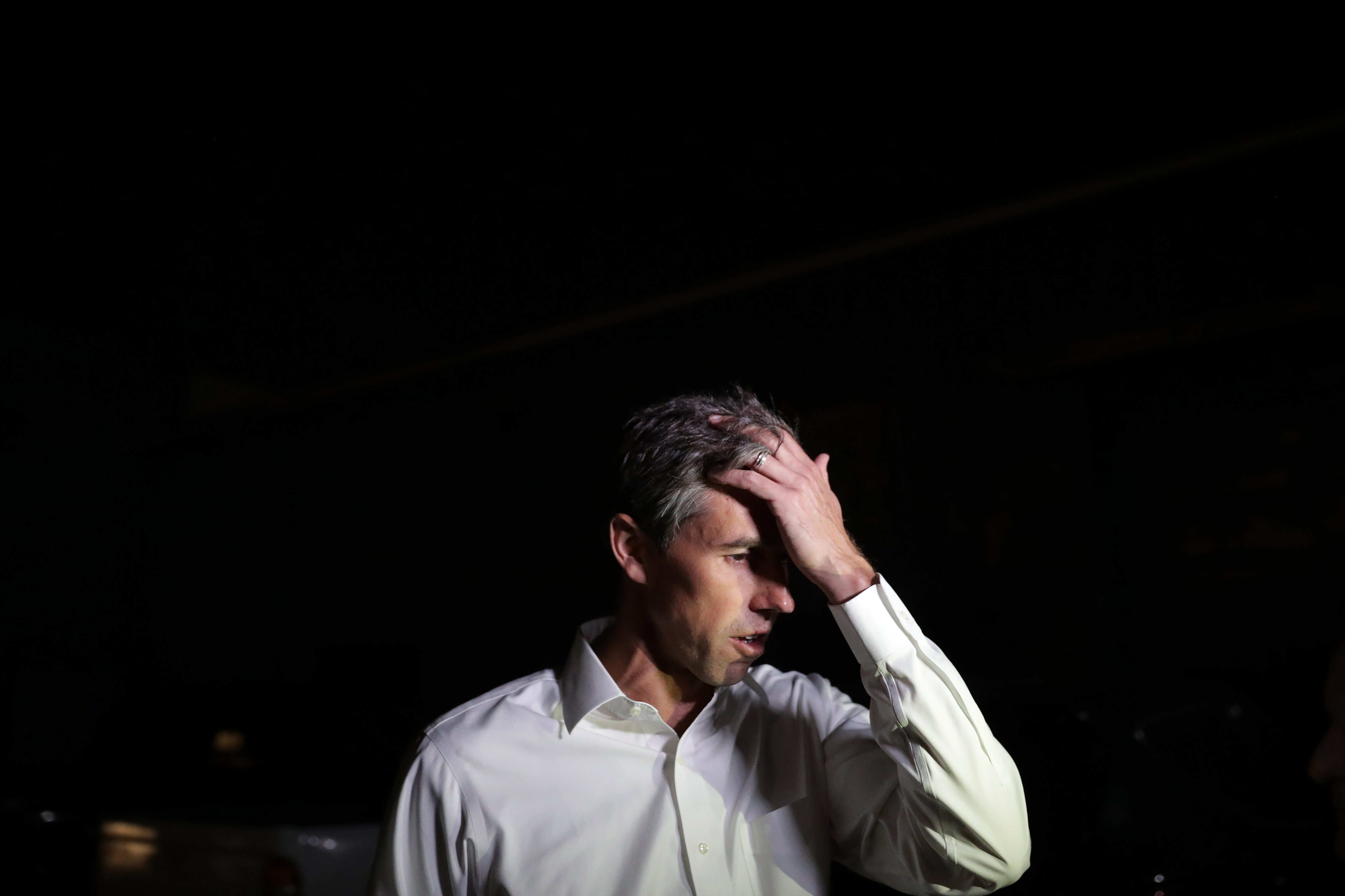 U.S. Senate candidate Rep. Beto O'Rourke talks with reporters before addressing a Blockwalk Celebration at Good Records after a day of door-to-door canvassing November 3, 2018 in Dallas, Texas. (Chip Somodevilla/Getty Images)