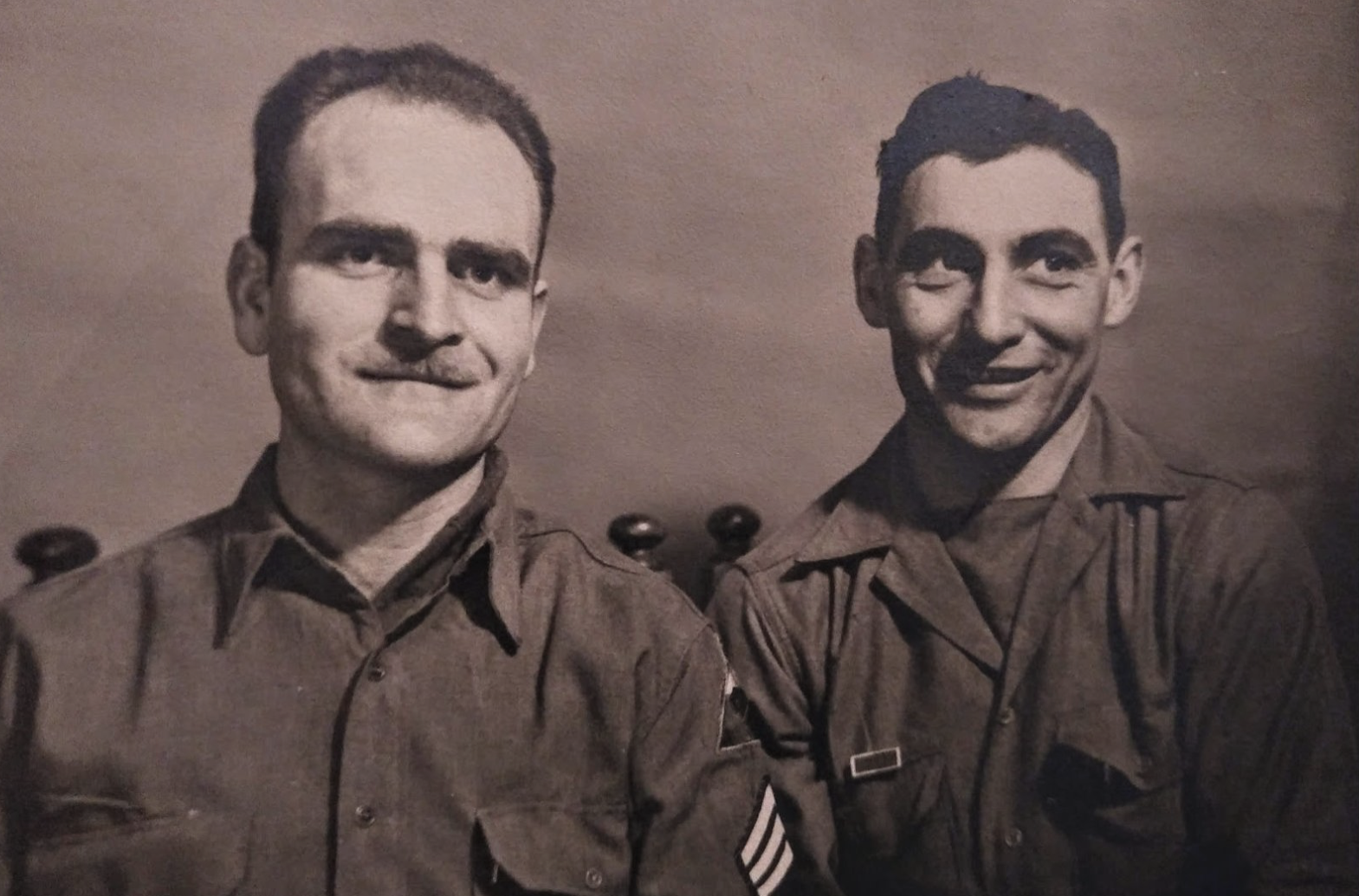 SSG William F. Greenplate (L) pictured with one of his men who wears the Presidential Unit Citation awarded to the 12th Armored Group after the Battle of the Bulge. Virginia Kruta/The Daily Caller