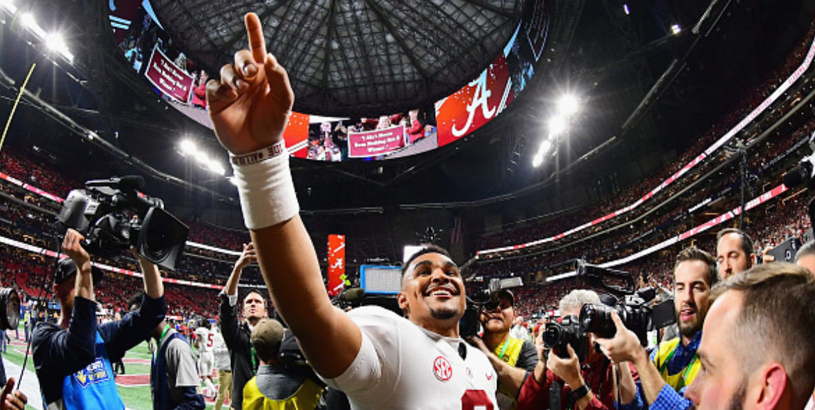 ATLANTA, GA - DECEMBER 01: Jalen Hurts #2 of the Alabama Crimson Tide reacts after defeating the Georgia Bulldogs 35-28 in the 2018 SEC Championship Game at Mercedes-Benz Stadium on December 1, 2018 in Atlanta, Georgia. (Photo by Scott Cunningham/Getty Images)