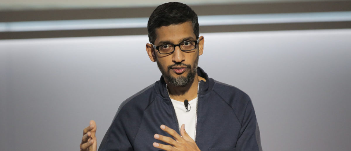 Sundar Pichai, chief executive officer of Google Inc., speaks about Google's improvements in Artificial Intelligence and machine learning at a product launch event, October 4, 2017, at the SFJAZZ Center in San Francisco, California. (ELIJAH NOUVELAGE/AFP/Getty Images)