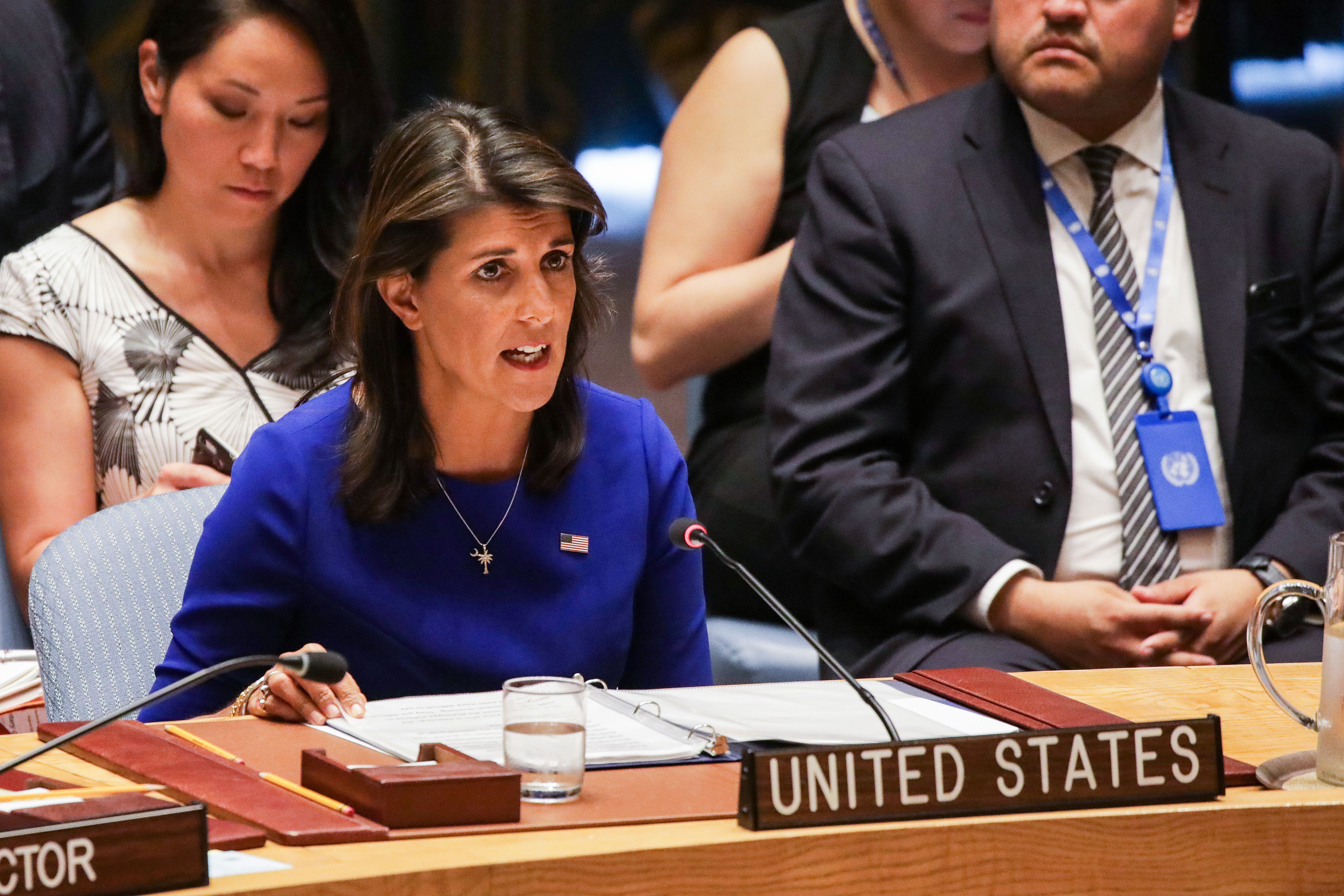 United States ambassador to the UN Nikki Haley speaks during a United Nations Security Council meeting on the situation in Myanmar at UN Headquarters in New York on August 28, 2018. DOMINICK REUTER/AFP/Getty Images