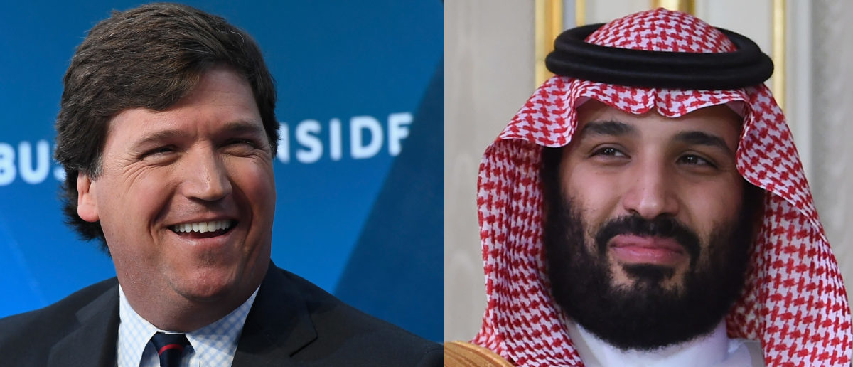 Left: Fox News host Tucker Carlson. Right: Saudi Prince Mohammed bin Salman (Left photo by Roy Rochlin/Getty Images, Right photo by FETHI BELAID/AFP/Getty Images)