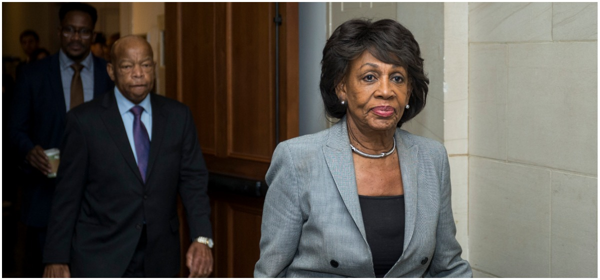 Rep. Maxine Waters (D-CA) exits a Democratic Caucus meeting to elect new leadership on Capitol Hill on November 28, 2018 in Washington, DC. House Democrats have nominated Rep. Nancy Pelosi to run for Speaker of the House and elected Rep. Hakeem Jeffries (D-NY) to be the new House Democratic caucus chair for the 116th Congress. (Photo by Zach Gibson/Getty Images)