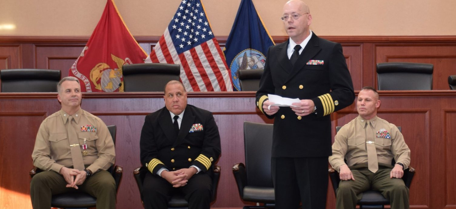 U.S. Marine Corps Lt. Col. Robert Q. Ward, Senior Judge on the Navy-Marine Corps Court of Criminal Appeals (NMCCA), retired from the Marine Corps at the NMCCA courtroom on the Washington Navy Yard, Dec. 18, 2014. The NMCCA conducts mandatory review, unless waived by the appellant, of all courts-martial of members of the naval service referred to the court pursuant to Articles 62, 66, 69 and 73, Uniform Code of Military Justice and, when necessary in furtherance of its jurisdiction, reviews all petitions for extraordinary relief properly filed before it. (U.S. Navy photo by Natalie Morehouse/Released)
