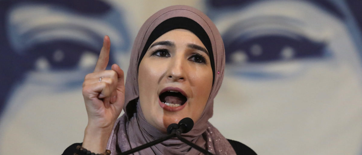 Immigration activist Linda Sarsour speaks during a National Day of Action for a Dream Act Now protest on February 7, 2018 in Washington D.C. (Photo by John Moore/Getty Images,)
