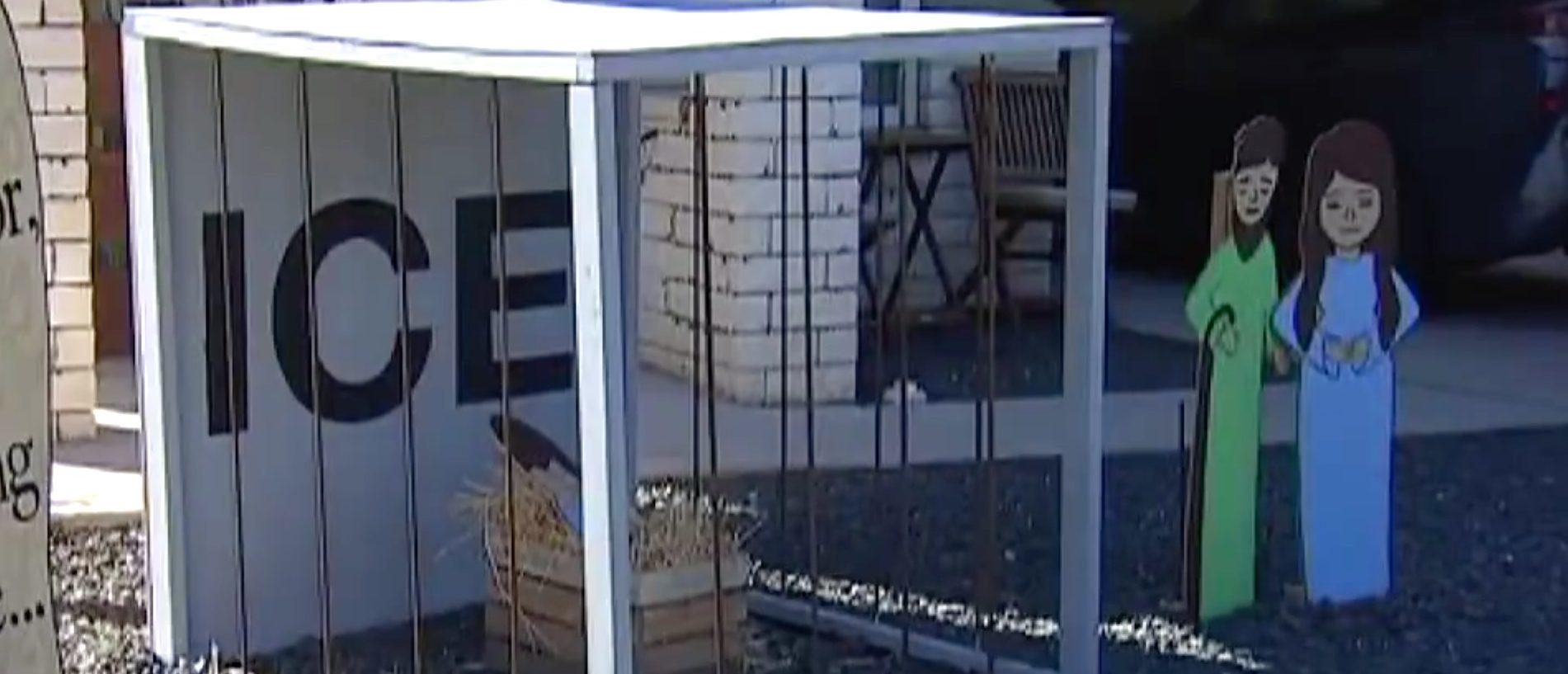 Texas Nativity pt baby Jesus in ICE cage./Screen Shot/Facebook/FOX 7 Austin