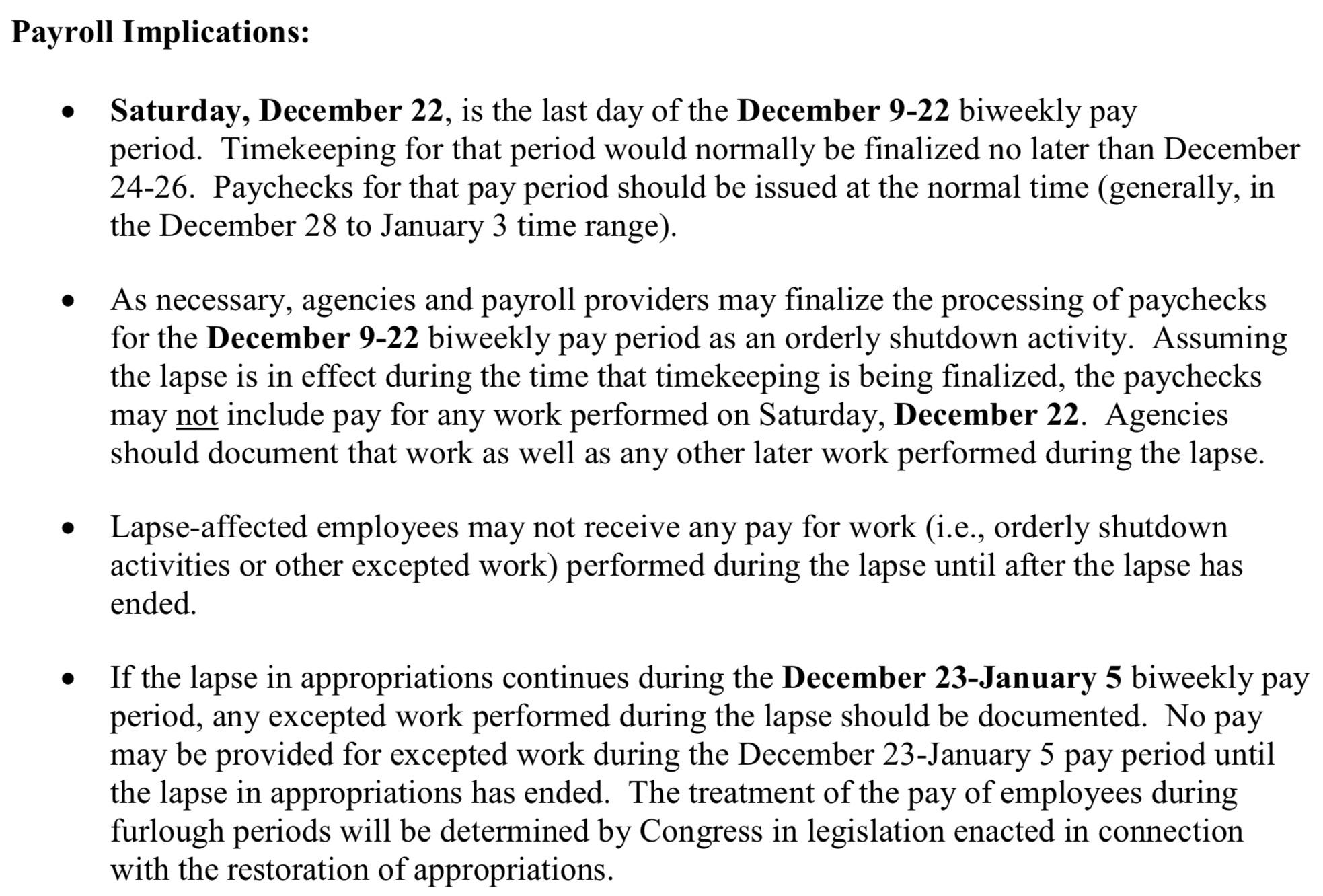 OMB pay guidance for shutdown./Screen Shot/White House
