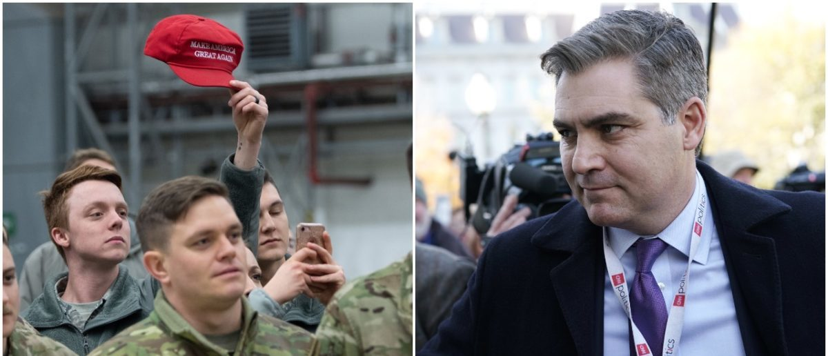 Left: Troops Greet President Donald Trump In Iraq (Getty Images), Right: CNN's Jim Acosta (Getty Images)
