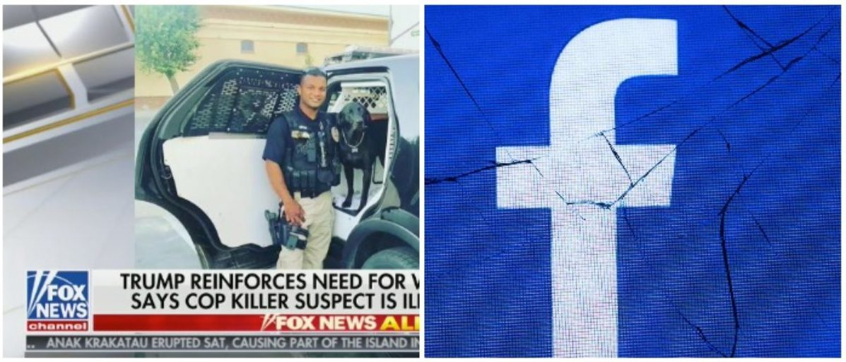 Officer Ronil Singh and the Facebook logo (Fox News screenshot 12/27/2018 and JOEL SAGET/AFP/Getty Images)