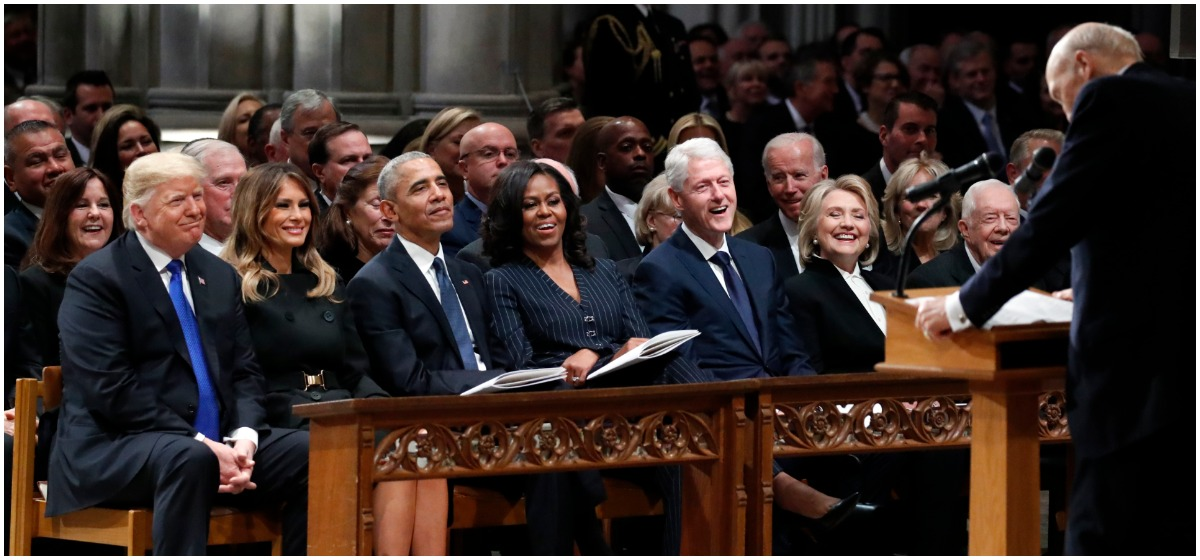 Trump, First Lady Melania Trump along with former US president Barack Obama and wife Michelle Obama attend the funeral service for former US president George H. W. Bush at the National Cathedral in Washington, DC on December 5, 2018. (Photo by MANDEL NGAN / AFP)