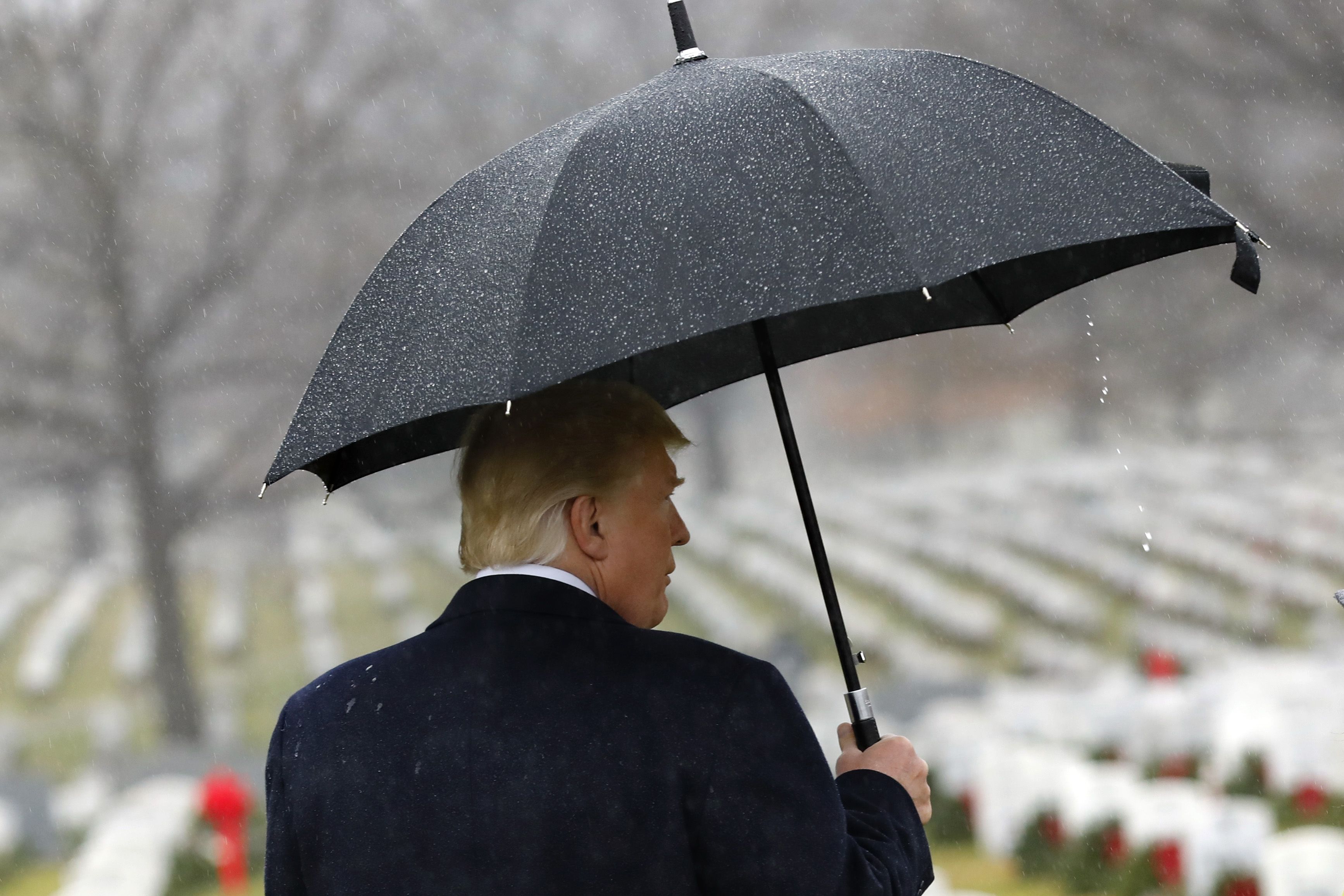 President Donald Trump visits Section 60 at Arlington National Cemetery on December 15, 2018. Trump is visiting the cemetery for the annual wreath-laying ceremony. (Yuri Gripas-Pool/Getty Images)