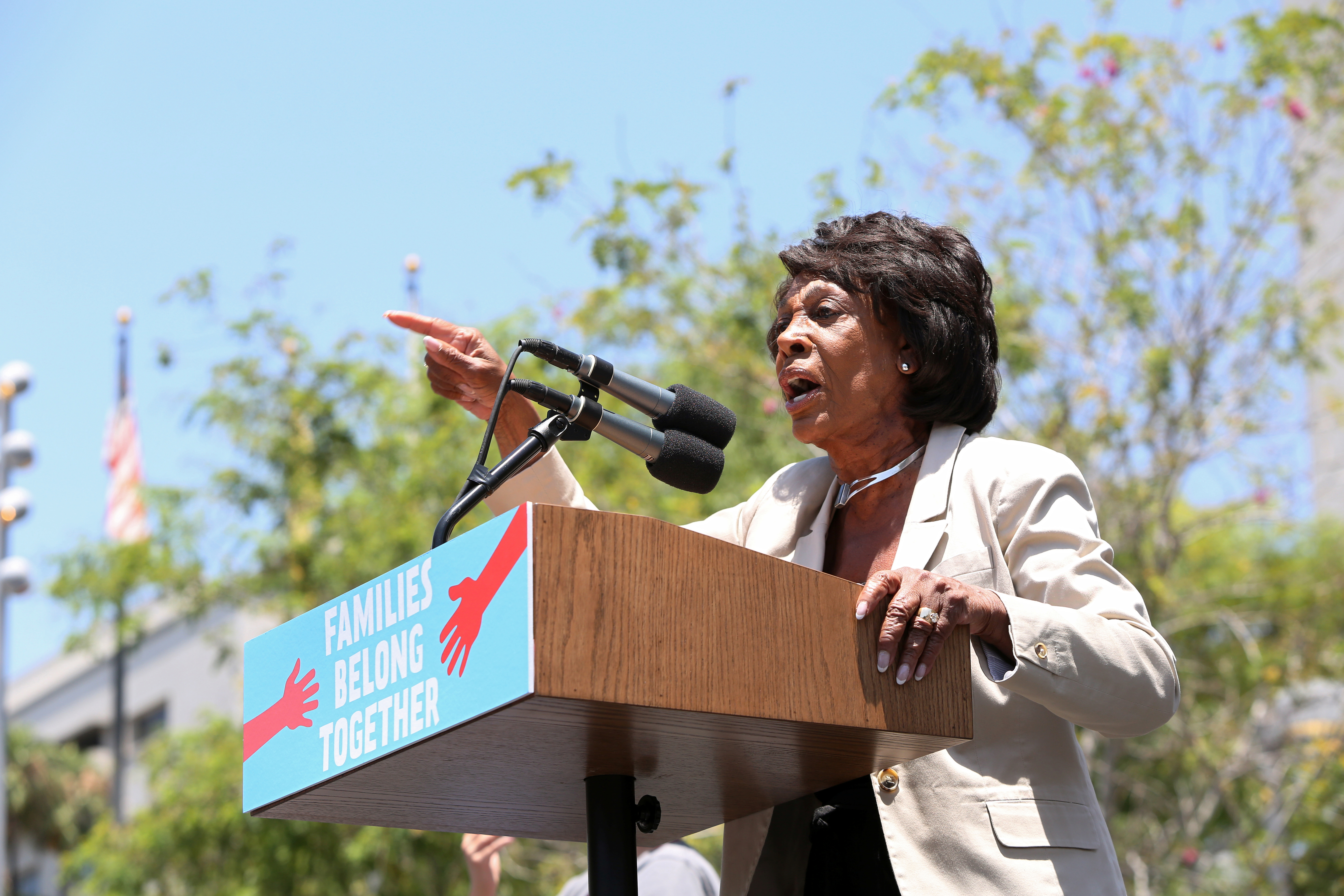 "Representative Maxine Waters speaks during a national day of action called ""Keep Families Together"" to protest the Trump administration's 'Zero Tolerance' policy in Los Angeles, California, U.S. June 30, 2018. REUTERS/Monica Almeida"