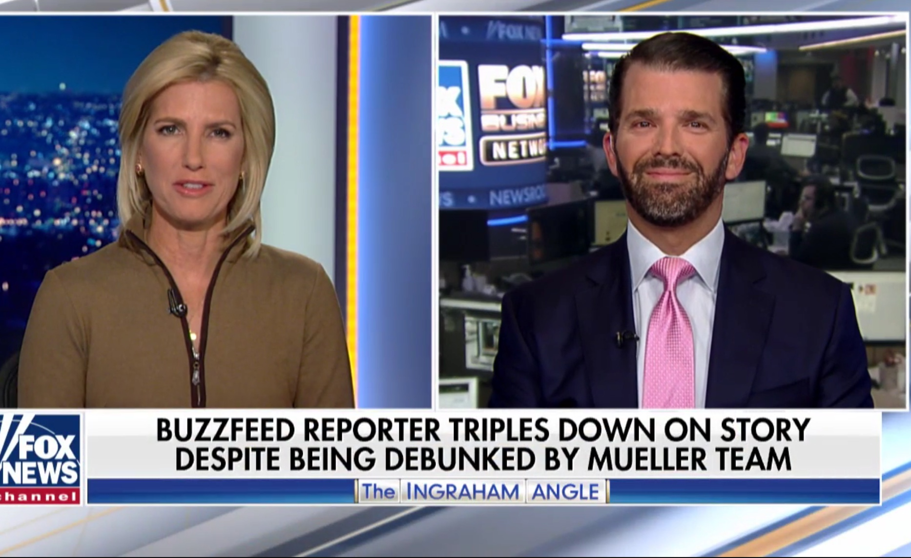"Donald Trump, Jr. appears on ""The Ingraham Angle"" to discuss media bias, Jan. 21, 2019. Fox News screenshot."