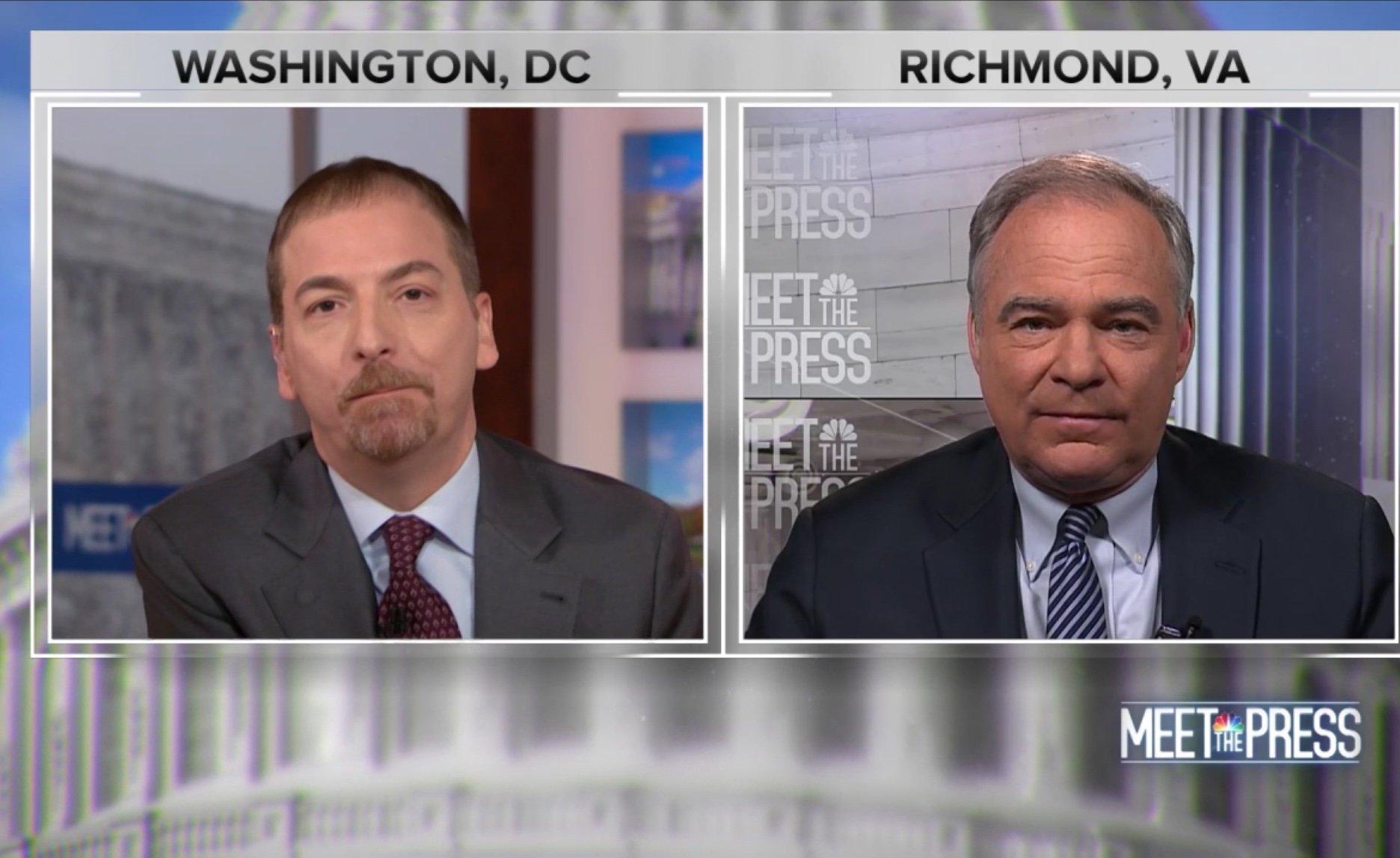 Virginia Democratic Sen. Tim Kaine is interviewed on NBC's Meet the Press, Jan. 13, 2019. NBC News screenshot.