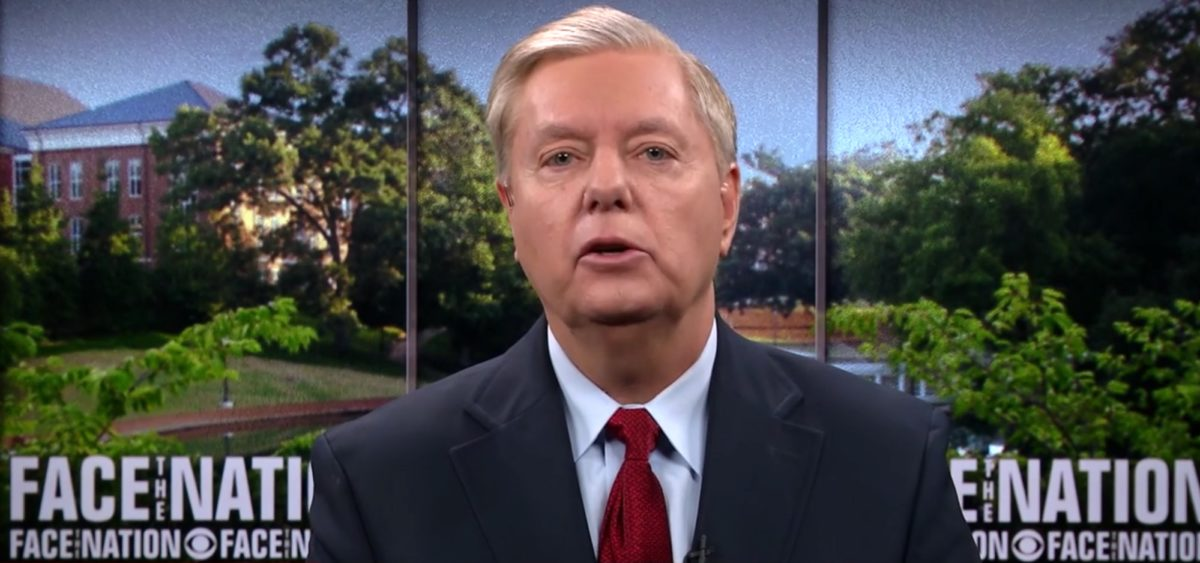 "Lindsey Graham is interviewed on CBS's ""Face the Nation."" CBS Screenshot"