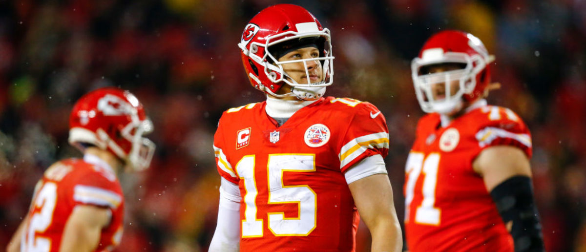KANSAS CITY, MO - JANUARY 12: Quarterback Patrick Mahomes #15 of the Kansas City Chiefs watches the video replay against the Indianapolis Colts during the AFC Divisional Playoff at Arrowhead Stadium on January 12, 2019 in Kansas City, Missouri. (Photo by David Eulitt/Getty Images)